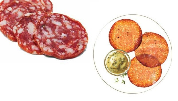 """""""Meat"""" the Perfect Chip   Crispy Salami Chips & Dipping Sauce"""